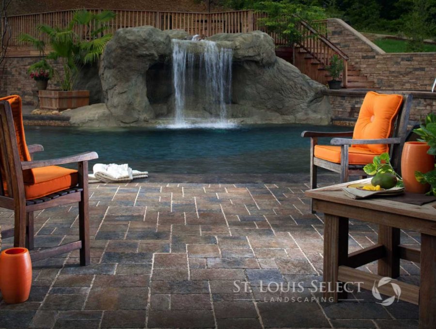 Hardscape Waterfall Pool Patio